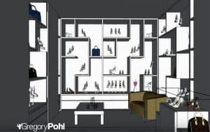 plan rayonnages magasin